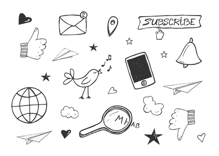 Vector illustration of social media icons set. Like, mail, location, subscribe button, smartphone, bird, magnifying glass, search, web, bell, paper plane. Hand drawn doodle style.