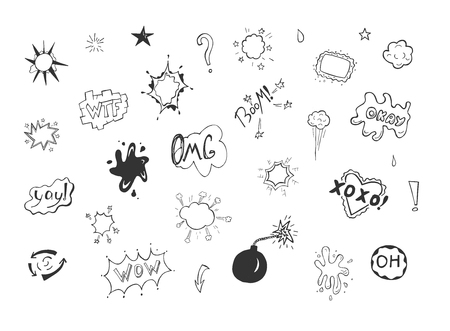 Vector illustration of commix drawings bubble set with expressions. Wow, OMG, oh, okay, ok, WTF, boom, yay, bomb. Bursts and bubbles in hand drawn sketchy doodle style.