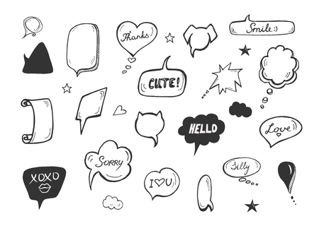 Vector illustration of speech commix bubbles with expressions. Sorry, XOXO, silly, love, cute, thanks, smile. Hand drawn sketchy doodle style.