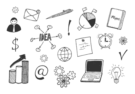 Vector illustration of business corporate icons. Idea, laptop, light bulb, diagram, chart, pen, at, planner, man. Hand drawn sketchy doodle style.