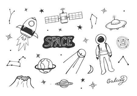 Illustrazione vettoriale di set di icone cosmiche. Razzo, tuta da astronauta, terra, Saturno, UFO, galassia, spazio, costellazione, stella, satellite. Stile doodle abbozzato disegnato a mano.