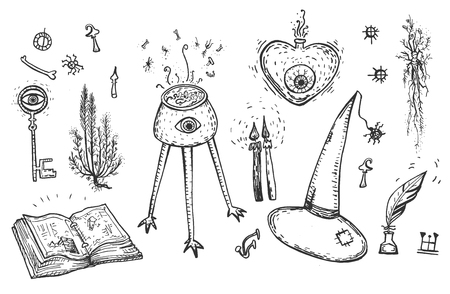 Vector illustration of magic objects set. Key, book, witch hat, mystery plants and mushrooms, symbols, candles, spell, potion. Vintage hand drawn style.