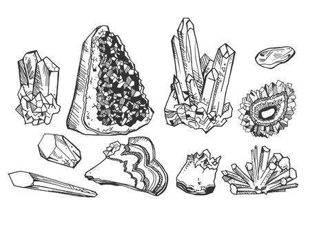 Illustration vectorielle de cristaux minéraux et de pierres précieuses. Style vintage dessiné à la main.