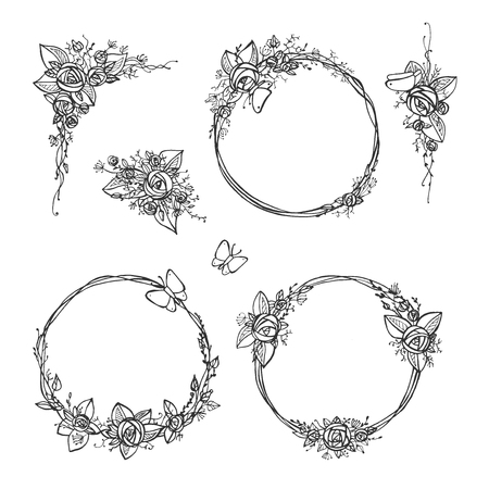 Vector illustration of a different rose wreath set. Flowers, roses, leaves and butterfly in a hand drawn tender doodle style. Great for floral wedding invitation decoration.