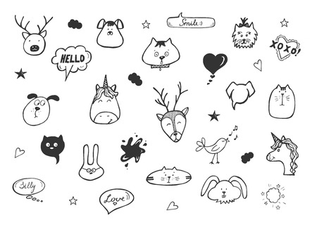 Vector illustration of kawaii emoji icons set. Hares, bunnies, monoceros, kittens, puppies, and elks heads, birds, hearts, clouds, stars and lettering cartoons. Hand drawn doodle style.