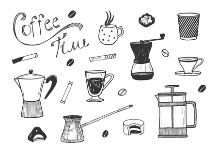 Vector illustration of coffee time icons set. Various cup, mug, mill, coffeemaker, jezve, foam glass, sugar sticks, coffee grains and cookies for hot drink. Hand drawn doodle style.