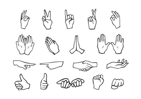 Illustrazione vettoriale di set di icone di movimenti della mano. Movimenti come segno OK, freddo e pace, impugnature, supplica, punta a sinistra, destra, dita incrociate, pugno, palmi aperti. Stile scarabocchio disegnato a mano.