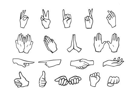 Ilustracja wektorowa zestaw ikon ruchów dłoni. Ruchy typu znak OK, spokój i spokój, chwyty, błaganie, wskazuje w lewo, w prawo, skrzyżowane palce, pięść, otwarte dłonie. Ręcznie rysowane doodle styl.