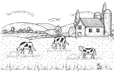 Vector illustration of summer countryside with domestic animals grazing in the meadow, farm above and settlement near the mountains. Vintage hand drawn style Vettoriali