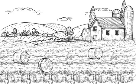Vector illustration of summer countryside with three round hay bales on the meadow, farm above and settlement near the mountains. Vintage hand drawn style Stock Illustratie
