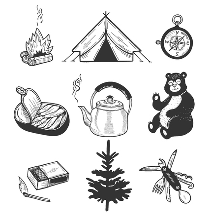 Vector illustration of camping set. Firewood, matches, tent, kettle, multitool, compass, sprats, spruce and unexpected guest bear. Vintage hand drawn style. Ilustração