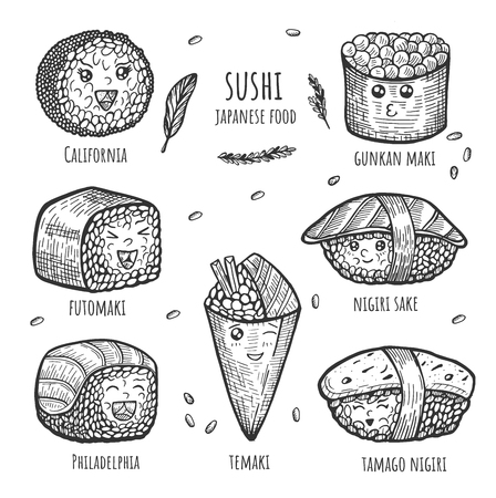 Vector illustration of funny sushi and roll characters with cute faces set. Sushi japanese food such temaki, tamago and philadelphia nigiri, futomaki, california, gunkan maki. Vintage hand drawn style