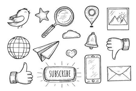 Vector illustration of widgets set. Like, dislike, phone directory, new message, search, internet browser, messenger, reminder, gallery, location, twitter, add to bookmarks. Vintage hand drawn style.