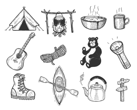 Vector illustration of camping set. Tent, pot, bonfire, fire, metal mug and plate, guitar, rope, bear, lantern, light, boot, canoe, kettle, road sign. Vintage hand drawn style. Ilustração