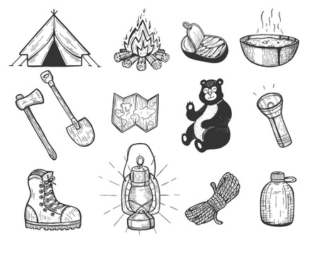 Vector illustration of camping set. Tent, bonfire, fish conserve, plate, ax, shovel, map, bear, light, boot, lantern, rope, flask. Vintage hand drawn style.