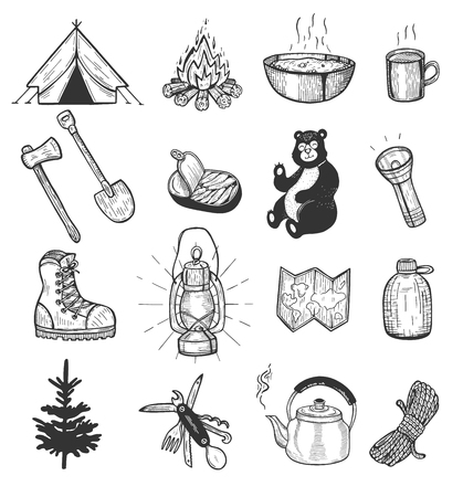 Vector illustration of camping set. Tent, bonfire, metal mug and plate, shovel, ax, fish conserve, bear, light, boot, lantern, map, flask, pine, Swiss knife, kettle, rope. Vintage hand drawn style.