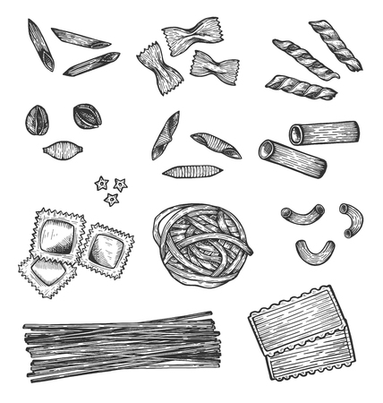 Vector illustration of macaroni set. Pasta, macaroni, noodles, pappardelle, penne, farfalle, shells, campanelle, angel hair, gnocchi, orecchiette, ravioli, rolled goods. Vintage hand drawn style. Stok Fotoğraf - 122133563