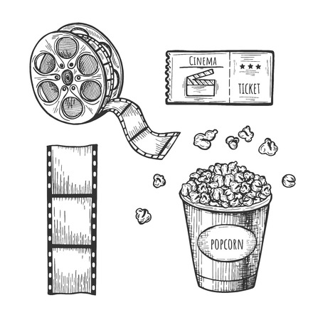 Vector illustration of cinema set. Ticket, popcorn, film, bobbin. Vintage hand drawn style.