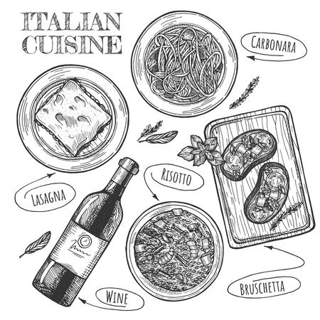 Vector illustration of Italian cuisine set. Plates with carbonara, lasagna, bottle of wine and bruschetta. Vintage hand drawn style.