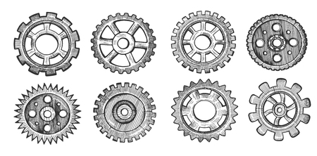 Vector illustration of technology set. Machine gear different types and shapes, wheel cogwheel, pinions. Vintage hand drawn style. Illustration