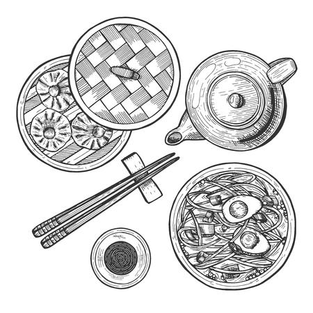 Illustration vectorielle de jeu de cuisine chinoise. Menu avec nouilles ramen, dim sum et panier de boulettes, sauce soja en tasse, théière chinoise, baguettes. Style vintage dessiné à la main. Vecteurs