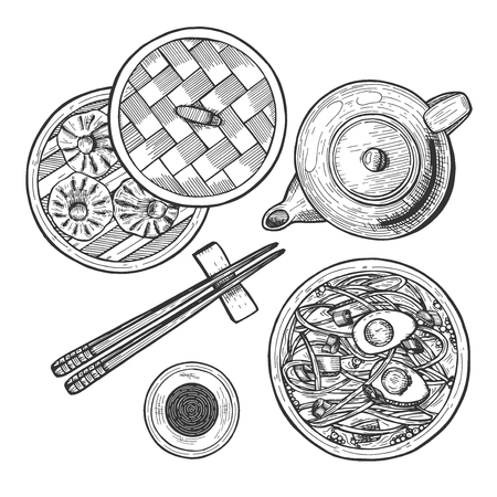 Vector illustration of chinese cuisine set. Menu with ramen noodles, dim sum and dumplings basket, soy sauce in cup, chinese tea pot, chopsticks. Vintage hand drawn style. Stock Illustratie