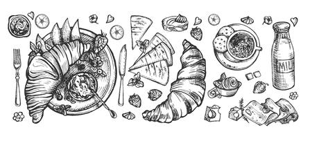Ilustración de vector de comida de la mañana en estilo francés. Botella de leche, croissant junto y con mermelada, loncha de queso, trozos de mantequilla, canasta de frutas, gofres, taza de café. Estilo vintage dibujado a mano