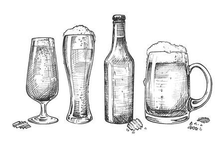 Vector illustration of glassware for alcohol drinks set. Foaming beer in different types of glasses like tulip, weizen, dimpled mug and in closed bottle. Vintage hand drawn style.