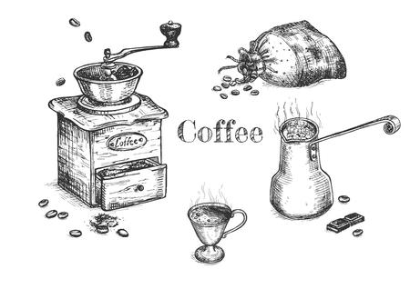 Illustrazione vettoriale del set per la preparazione del caffè passo dopo passo. Caffè in grani in bustina, macinino in azione, jezve con bevanda bollente, demi tasse con bevanda fumante preparata. Stile vintage disegnato a mano.