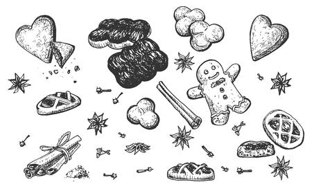 Vektorillustration von gebackenen Nahrungsmitteln eingestellt. Kekse in verschiedenen Formen, Eclairs, Lebkuchenmann, Kekse, Quarktörtchen, Zimtstangen, Schokolade mit Vanille, Anisdekoration. Vintage handgezeichnete Stil.