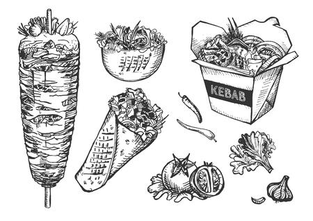 Illustrazione vettoriale di set di fast food. Carne a spacco verticale per kebab in contenitore di carta wok e piatto fondo, burrito, pita roll, pomodori, aglio, peperoncino, cavolfiore Stile vintage disegnato a mano. Vettoriali