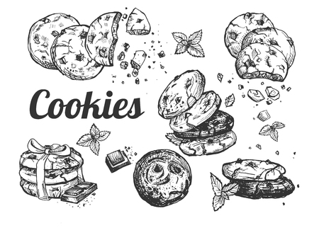 Vector illustration of culinary masterpieces, sweets set. Pastries, biscuits with chocolate crumb in one piece, with a bite taken out of it bow decorated. Vintage hand drawn style.