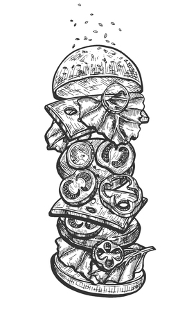 Vector illustration of american burger anatomy vertical set. Fresh pepper, onion, tomato, cheese slices, grilled meat, lettuce, bun, ketchup. Vintage hand drawn style. Ilustrace