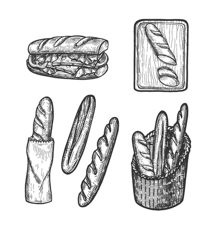 Ilustracja wektorowa zestaw francuskiego chleba. Bagietka, kanapka, chleb w koszu lub papierowej torbie, pokrojony bochenek na desce do krojenia. Styl Vintage ręcznie rysowane.