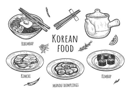 Illustrazione vettoriale di set di cibo coreano. Piatti con bibimbap, kimbap, kimchi, gnocchi mandu, teiera, bastoncini, spezie. Stile vintage disegnato a mano.