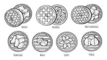 Vector illustration of Asian dim sum steamed pierogi dishes. Ravioli, khinkali, meat dumplings, manty, jiaozi, pyanse.