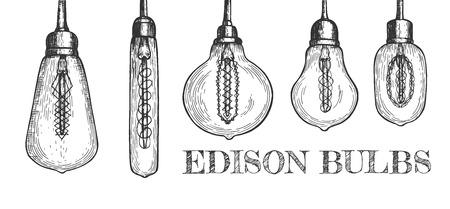Ilustración de vector de conjunto de bombillas de Edison. Cinco luces decorativas en formas loft clásicas, retro y geométricas diferentes. Estilo vintage dibujado a mano.