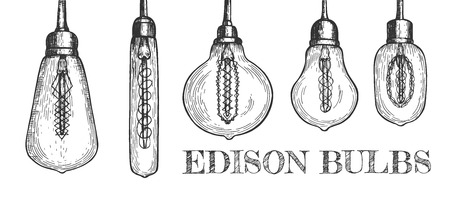 Vector illustration of edison bulbs set. Five decorative lights in classic, retro and different geometric loft forms. Vintage hand drawn style.
