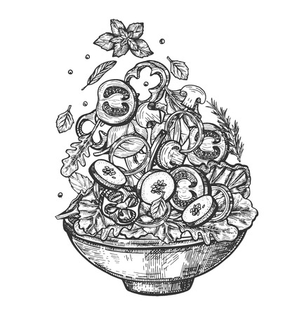 Vector illustration of fresh healthy salad bowl set. Dish with sliced tomatoes, mushrooms, zucchini, onion rings and sweet pepper, potions and lettuce. Vintage hand drawn style. Stock Illustratie