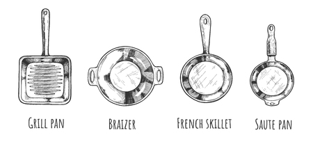 Vector illustration of frying pan set. Device for frying food different types Braizer, french skillet, grill pan, saute pan. Vintage hand drawn style.