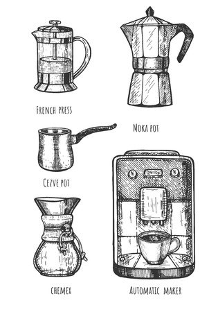 Vector illustration of professional barista coffee makers set. French press, cezve and moka pot, chemex filter-flask and automatic machine. Vintage hand drawn style.