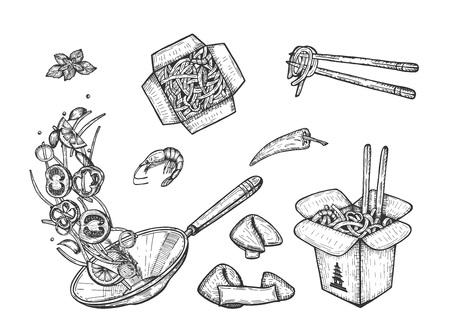 Ilustración de vector de comida asiática wok. Kebab, fideos en cajas con palillos y especias, sartén con verduras en rodajas voladoras, galletas de la fortuna. Estilo vintage dibujado a mano.
