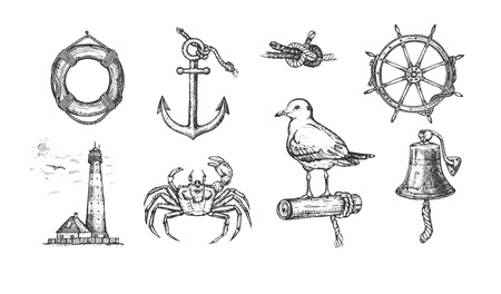 Ilustracja wektorowa morskiego zestawu morskiego. Kotwica, krab, dzwon, latarnia morska, kierownica, mewa, węzeł morski, koło ratunkowe. Styl Vintage ręcznie rysowane.