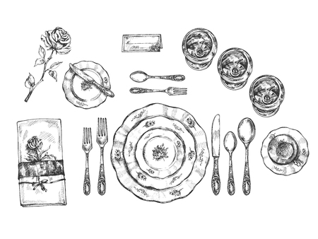 Vector illustration of formal type tableware setting set. Vintage dishes and cutlery such as glasses, spoons, knives, forks, saucer, napkin, seating card in floral style. Vintage hand drawn style. Illustration