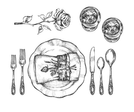 Vector illustration of informal tableware setting set. Vintage plate, glasses, forks, knife, napkin with rose flower. Vintage hand drawn style. 矢量图像