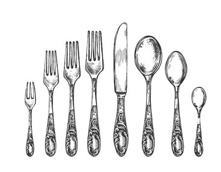 Ilustración de vector de cubiertos de estilo art nouveau vintage. Cucharas, tenedores y cuchillo. Estilo vintage dibujado a mano. Ilustración de vector