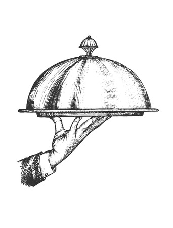 Illustration vectorielle de l'ensemble de service de restaurant. Serveur main tenant un plateau et un couvercle en métal. Style vintage dessiné à la main.