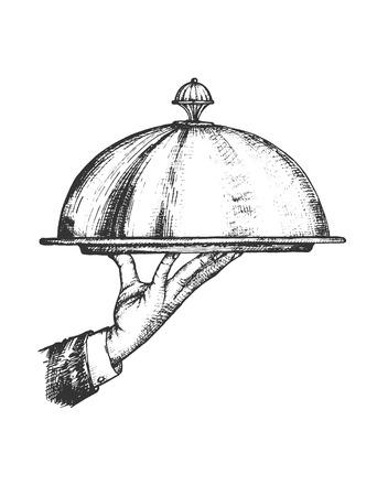 Vektor-Illustration des Restaurant-Service-Sets. Kellnerhand, die Tablett und Metalldeckel hält. Vintage handgezeichnete Stil.