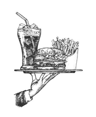 Ilustración de vector de conjunto de servicio de comida de restaurante. Mano de camarero de restaurante con comida rápida como hamburguesas, refrescos, papas fritas. Estilo vintage dibujado a mano.