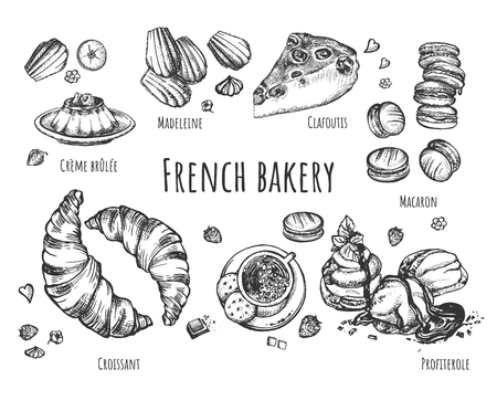 Vector illustration of french bakery set. Croissant, macaron, creme brulee, profiterole, clafoutis, madeleine with chocolate, jam, cream crispy crust. Vintage hand drawn style. Vectores